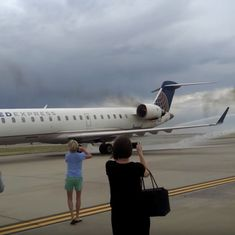 Watch: In the US, a United Airlines plane caught fire shortly after landing