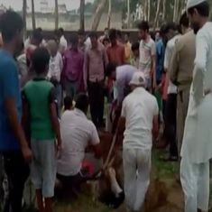 Watch: A cow fell into a pit at a cemetery. Muslims rushed to the rescue