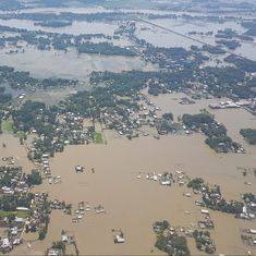 Kiren Rijiju conducts an aerial survey of flood-hit Assam, calls for rescue operations to be sped up