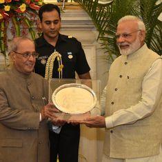 Narendra Modi hosts farewell dinner for President Pranab Mukherjee at Hyderabad House