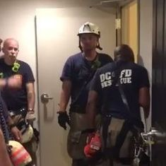 Watch: A man had to be rescued after he fell into a trash chute for his phone