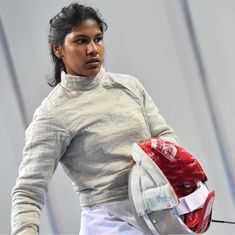 Back from Italy just in time, Indian fencer Bhavani Devi does target practice with her kitbag