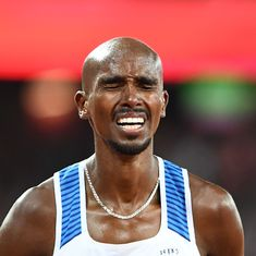 Mo Farah's bid to win distance double takes a hit after physical battering in 10,000m win