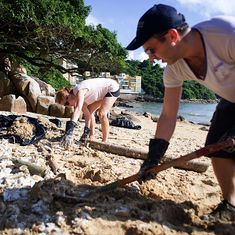 Hong Kong: 93 tonnes of palm oil cleaned up from the beaches after two ships collide