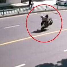 Caught on camera: This scooter flips over, throws off its passengers, and takes off on its own