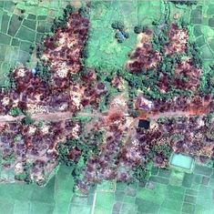 Satellite images show hundreds of buildings ablaze in a Rohingya village, says Human Rights Watch