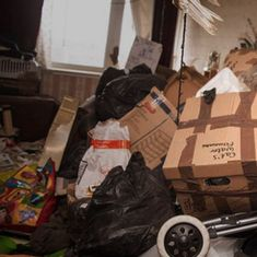 Watch: A woman who hasn't cleaned her house in 4 years sorts the mess with professional help