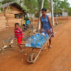 A drought in Sri Lanka has made bathing a dangerous undertaking for many women