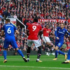 Watch: Manchester United's Antonio Valencia slams an exquisite volley to set up Everton demolition