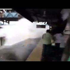 Watch: Train speeds through flooded tracks at Mumbai station, Western Railway orders inquiry