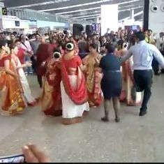 Watch: A Durga Puja flash mob took over Kolkata Airport and people could not have enough of them
