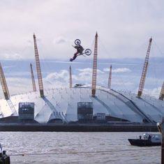 Watch: Daredevil biker performs breathtaking backflip over London's Thames river