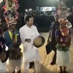 Watch Rahul Gandhi trying to shake a leg with tribal dancers in Gujarat (and not doing too well)
