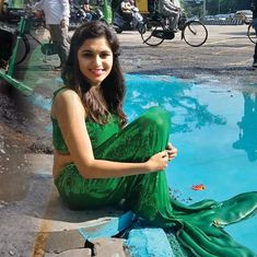 Mermaid emerging from a pothole pond in Bengaluru gets mixed reactions from Twitter users