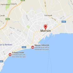 Police vehicle hit in a bomb blast in Turkey's Mersin