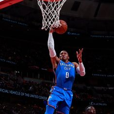 NBA Roundup: Westbrook's record triple-double powers Thunder, Pelicans shock Cavs