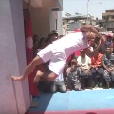 Watch: Police officer in Nepal sets a world record for twisting backflips off a wall (but why?)