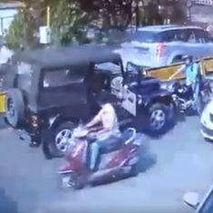 Outrageous: Motorcyclist protests against SUV on wrong side of road. SUV driver beats him up
