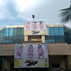 Chennai Press Club displays banners with cartoonist G Bala's work in protest against his arrest