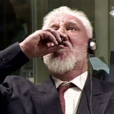 Watch: The dramatic moment when a war criminal swallowed poison during his trial in a UN Court