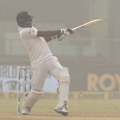 Mathews, Chandimal defy India before Ashwin's late strikes peg Sri Lanka back in hazy Delhi
