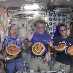 Watch: Any pizza party is great, but this one was literally out of this world