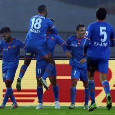 FC Goa put five past 10-man Delhi Dynamos to go top of the Indian Super League table