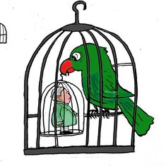 कार्टून : पिंजरे के पंछी का पराक्रम