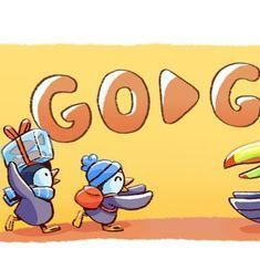 On Christmas Day, Google's doodle is a penguin family packing for a vacation
