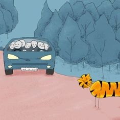 The backstory: In Uttarakhand to cover the elections, I saw a tiger strolling across the road