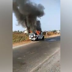 Visakhapatnam: Escort vehicle in deputy CM's convoy bursts into flames, no injuries reported