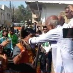 Watch: Resident of Madhya Pradesh's Dhar welcomes BJP leader with garland of shoes