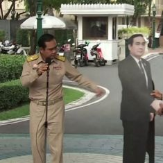 Watch: Thai PM replaces himself with a cardboard cut-out to evade questions by the media