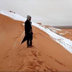 Video: Residents of Sahara desert woke up to the sight of snow in northern Algeria