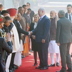 Israeli PM Netanyahu receives ceremonial welcome at Rashtrapati Bhavan, pays homage at Raj Ghat