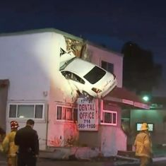 Watch: In a bizarre achievement, a man managed to crash his car into the first floor of a building