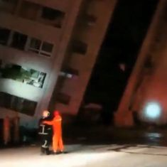 Caught on camera: Devastating earthquake in Taiwan left this hotel alarmingly tilted