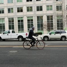Watch: A man created slow and fast lanes for traffic outside the FCC HQ to explain net neutrality