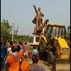 Tripura: Lenin statue knocked down in Belonia town, Left blames BJP workers