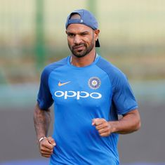 Watch: Shikhar Dhawan hits the gym as he begins recovery from thumb injury