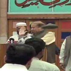 Shoe thrown at former Pakistan Prime Minister Nawaz Sharif in Lahore