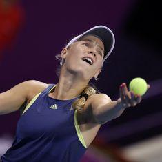 Wozniacki saves match point against Kerber to set up Eastbourne final with Sabalenka