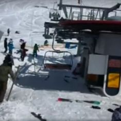 Caught on camera: Terrified skiers jump off ski lift as it begins to spin out of control