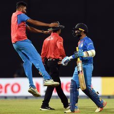 Dinesh Karthik smacks last-ball six as India win thrilling tri-series final against Bangladesh