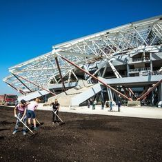 With less than 3 months to go, Russia's delayed World Cup stadium is still without a pitch
