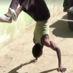 Watch: This man from Ethiopia has mastered the skill of walking on his hands much of the time