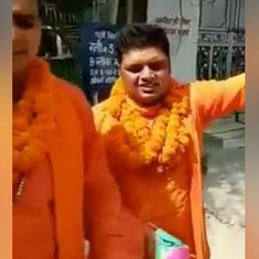 Watch: Hanuman Jayanti bike rally participants chant slogans, burst crackers near mosques in Delhi