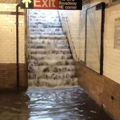 Caught on camera: The underground train network in New York City got flooded after heavy rains