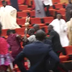 Watch: The Nigerian Parliament was hilariously disrupted by thugs who stole the most important thing