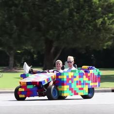 Watch: A car made of Lego blocks tours the streets of America – only to be pulled up by the police
